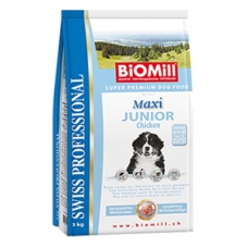 Biomill Maxi Junior kutsikatoit kanalihaga suurt kasvu kutsikatele, 12 kg