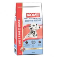 Biomill Medium Junior koeratoit kalaga keskmist kasvu kutsikatele, 12 kg